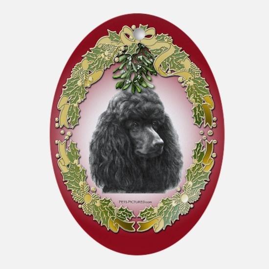 Poodle Christmas Oval Ornament