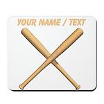 Custom Crossed Baseball Bats Mousepad