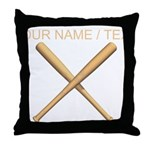 Custom Crossed Baseball Bats Throw Pillow