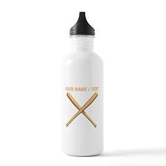Custom Crossed Baseball Bats Water Bottle