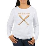Custom Crossed Baseball Bats Long Sleeve T-Shirt