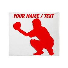 Custom Red Baseball Catcher Throw Blanket