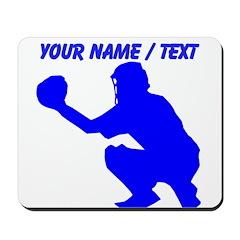 Custom Blue Baseball Catcher Mousepad
