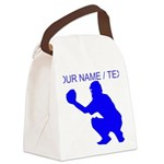Custom Blue Baseball Catcher Canvas Lunch Bag
