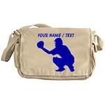 Custom Blue Baseball Catcher Messenger Bag