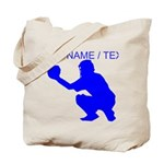Custom Blue Baseball Catcher Tote Bag