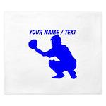 Custom Blue Baseball Catcher King Duvet