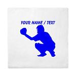 Custom Blue Baseball Catcher Queen Duvet