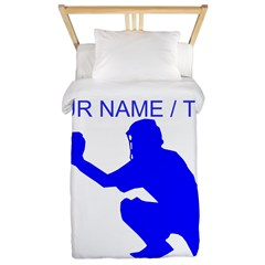 Custom Blue Baseball Catcher Twin Duvet
