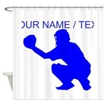 Custom Blue Baseball Catcher Shower Curtain