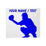 Custom Blue Baseball Catcher Throw Blanket