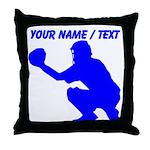 Custom Blue Baseball Catcher Throw Pillow