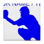 Custom Blue Baseball Catcher Tile Coaster