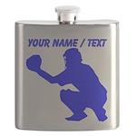 Custom Blue Baseball Catcher Flask