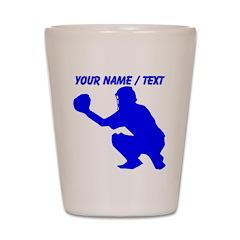 Custom Blue Baseball Catcher Shot Glass