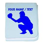 Custom Blue Baseball Catcher baby blanket