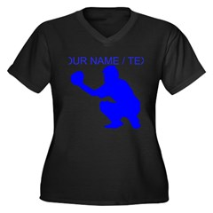 Custom Blue Baseball Catcher Plus Size T-Shirt