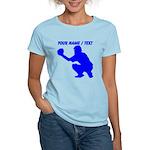 Custom Blue Baseball Catcher T-Shirt