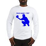 Custom Blue Baseball Catcher Long Sleeve T-Shirt