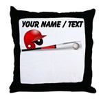 Custom Baseball Bat And Helmet Throw Pillow