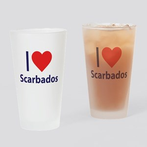 I Love Scarbados Drinking Glass