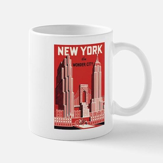 New york the wonder city red Mug