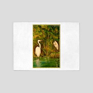 Egrets! Bird, wildlife, wetland art! 5'x7'Area Rug