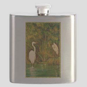 Egrets! Bird, wildlife, wetland art! Flask