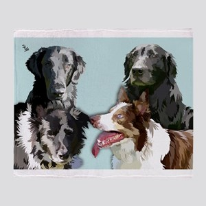 4 dogs Throw Blanket