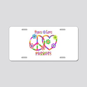 Peace Love Parrots Aluminum License Plate