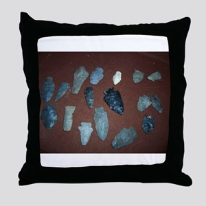 Collection of Indian Arrowheads Throw Pillow