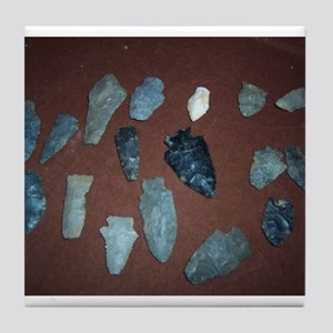 Collection of Indian Arrowheads Tile Coaster