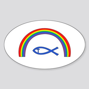 Rainbow Fish (cntr txt) Sticker
