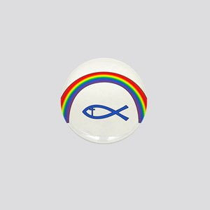 Rainbow Fish (cntr txt) Mini Button