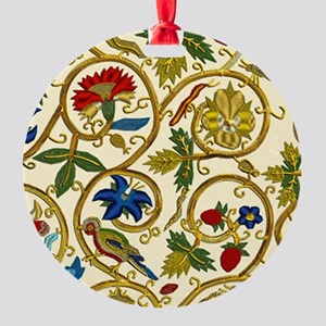 Elizabethan Swirl Embroidery Round Ornament