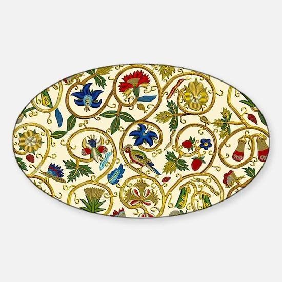 Elizabethan Swirl Embroidery Sticker (Oval)