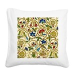 Elizabethan Swirl Embroidery Square Canvas Pillow