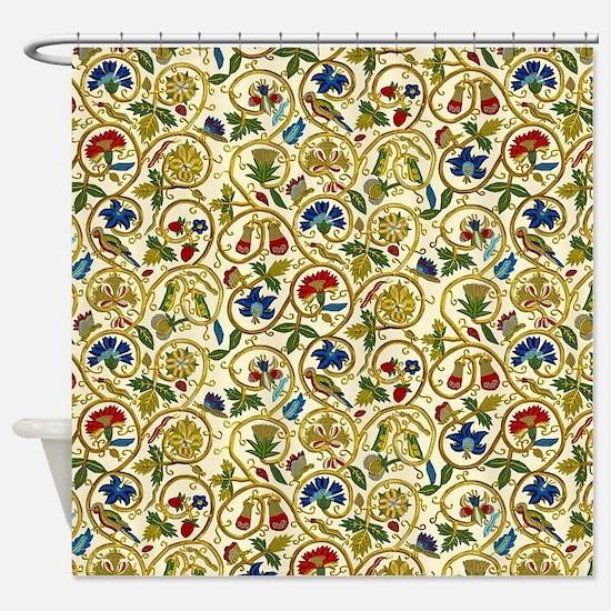 Elizabethan Swirl Embroidery Shower Curtain