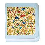 Elizabethan Swirl Embroidery baby blanket