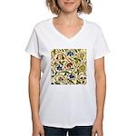 Elizabethan Swirl Embroider Women's V-Neck T-Shirt