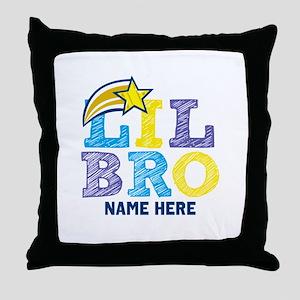 Add Name Lil Bro Throw Pillow