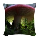 Red Mushroom in Forest Woven Throw Pillow