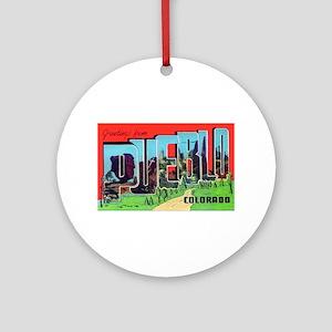 Pueblo Colorado Greetings Ornament (Round)