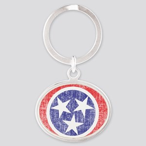Faded Tennessee Flag Oval Keychain
