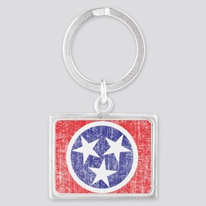 Faded Tennessee Flag Landscape Keychain