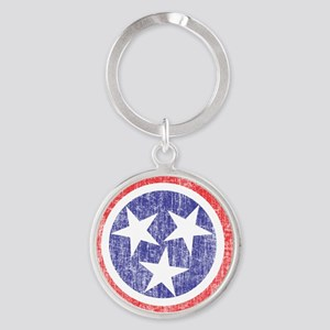 Faded Tennessee Flag Round Keychain