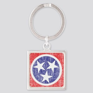 Faded Tennessee Flag Square Keychain