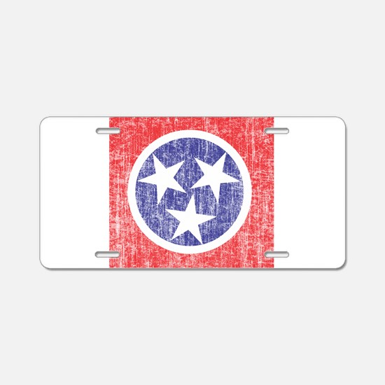 Faded Tennessee Flag Aluminum License Plate