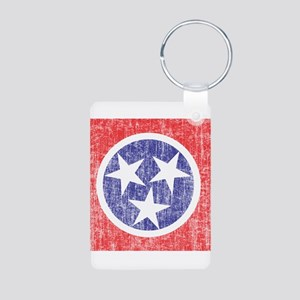 Faded Tennessee Flag Aluminum Photo Keychain