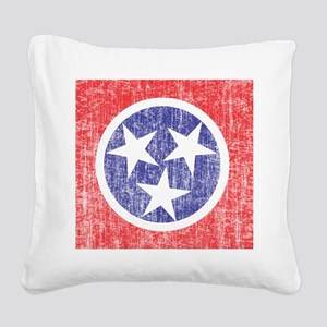 Faded Tennessee Flag Square Canvas Pillow